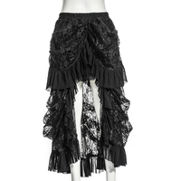 Steampunk Black Sexy Lace Irregular Long Skirt Women Gorgeous Floral Pattern Skirts Gothic Casual Folds Elastic Band Skirts