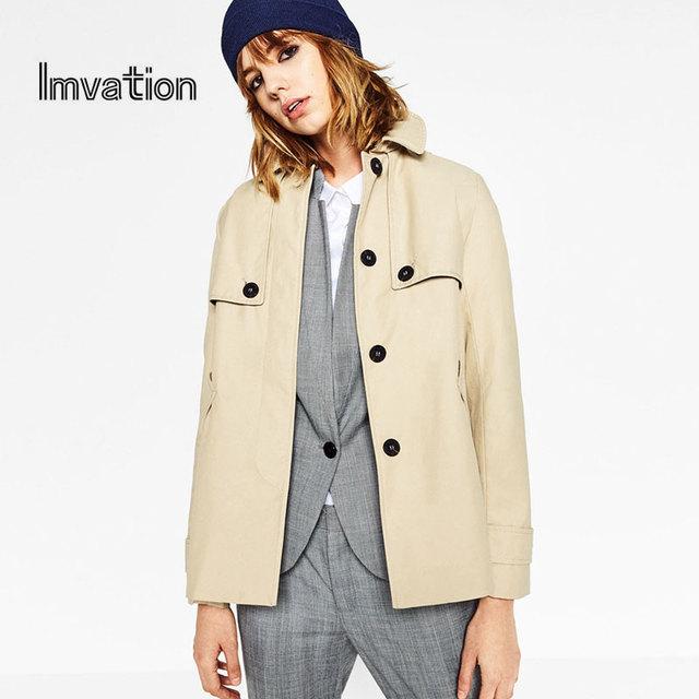 Imvation abrigo de Algodón Mujeres de manga Larga Turn-down Collar Escudo de Un Solo Pecho abrigo de invierno de las mujeres Outwear mujeres abrigos básicos