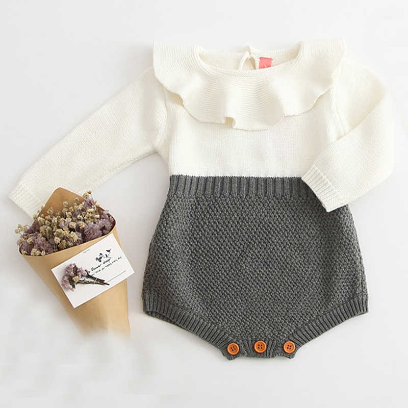 70dcb57b356b New 2019 Autumn Cute Newborn Baby Girl Long-sleeved Knitting Stitching  Romper Warm Jumpsuit Outfits