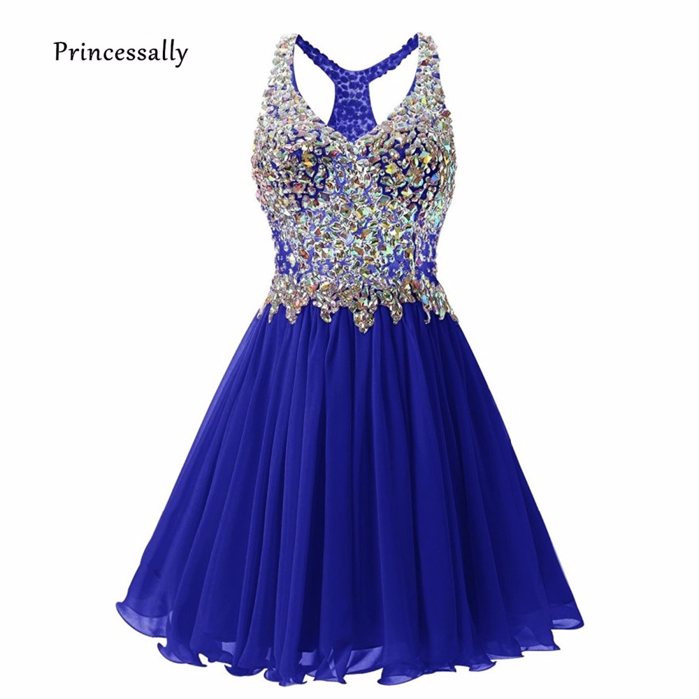 Robe De Soriee New Short Prom Dress Shining Beading Sexy V Neck Illusion Back Banquet Party Dress Evening Gown Vestido De Festa