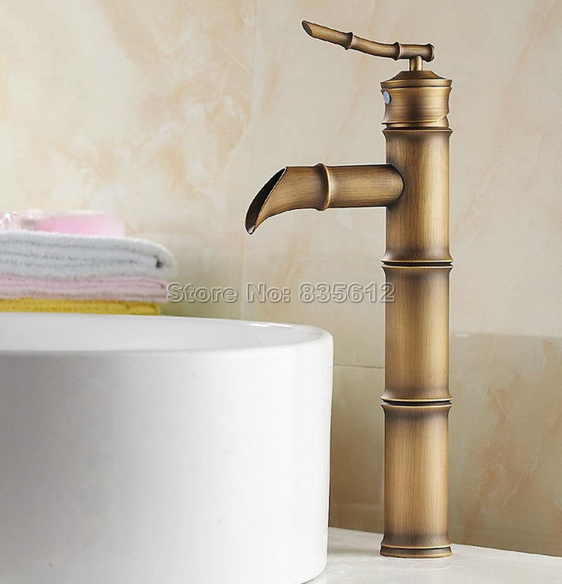 Deck Mounted Antique Brass Bamboo Style Bathroom Faucet / Single Handle Vessel Sink Waterfall Mixer taps Wnf107 antique brass bathroom basin faucet dual cross handles single hole deck mounted vessel sink gooseneck mixer taps wnf006