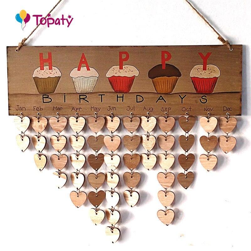 DIY деревянный на день рождения Календари доска Семья Друзья День рождения Календари знак особые даты планировщик доска висит Декор подарок