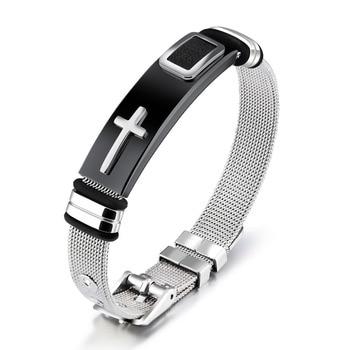 Punk Cross Bracelet For Men Length 16.5-21 CM Mesh Strap Band Stainless Steel 2 Colors Male Wrap Bracelets Jewelry GH878