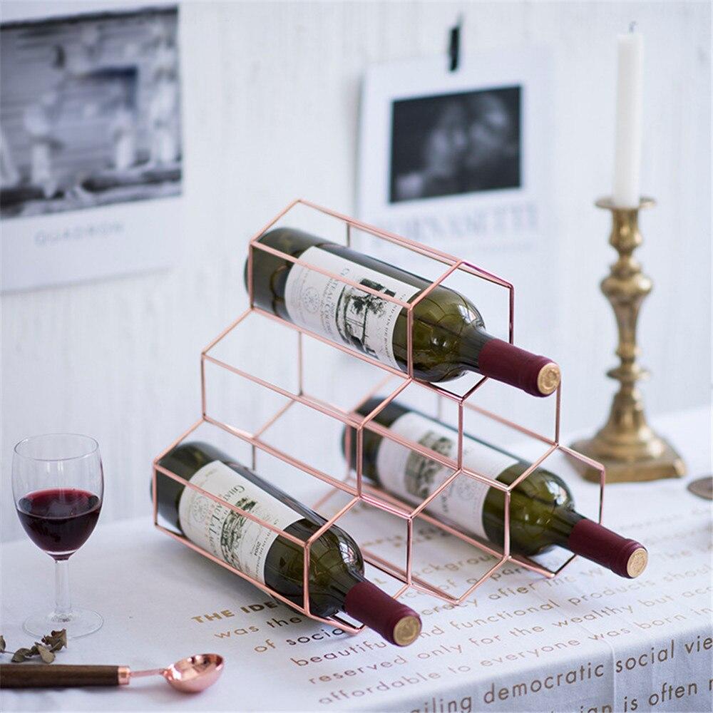 Nid d'abeille Style métal Table rangement panier Chic nordique scandinave or Rose bureau rangement panier vin rouge organisateur décor à la maison