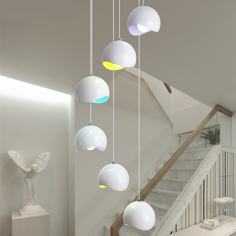 Stair lamp revolving staircase long creative personality double deck Hotel artistic living room villa Chandelier m chinese style simple led long block crystal villa staircase pendant lamp revolving double staircase living room lighting pendant