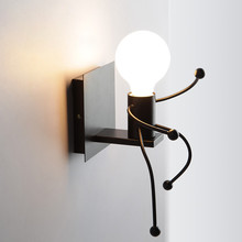 Nordic Style 3D Cartoon Robot Wall Lamp Black Iron Small People LED Mounted Lights Indoor Childrens Bedroom