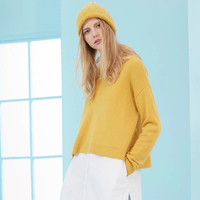 Pure Cashmere Sweater Women Sky Blue Thick Loose Yellow Sweaters Girl Winter Warm Pullovers Natural High Quality Free Shipping