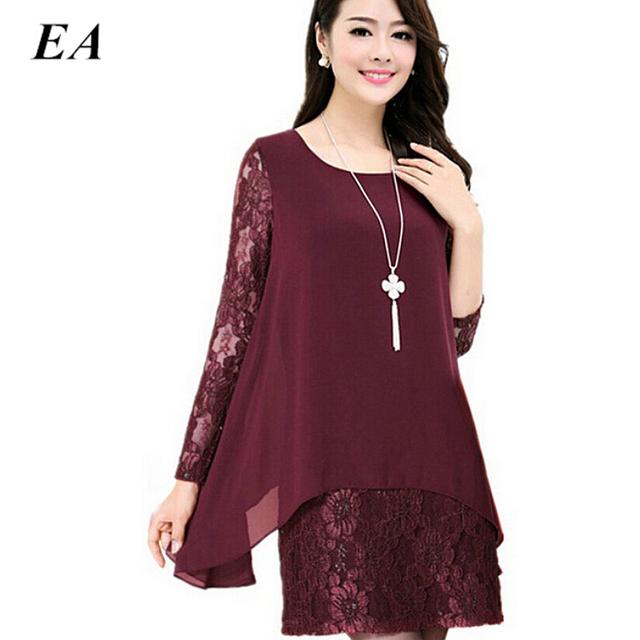 Mulheres chiffon verão dresse Rendas Crochet camisa de manga Longa Plus Size 4xl 5xl moda lady tops 2016 blusa mulheres DTCX112