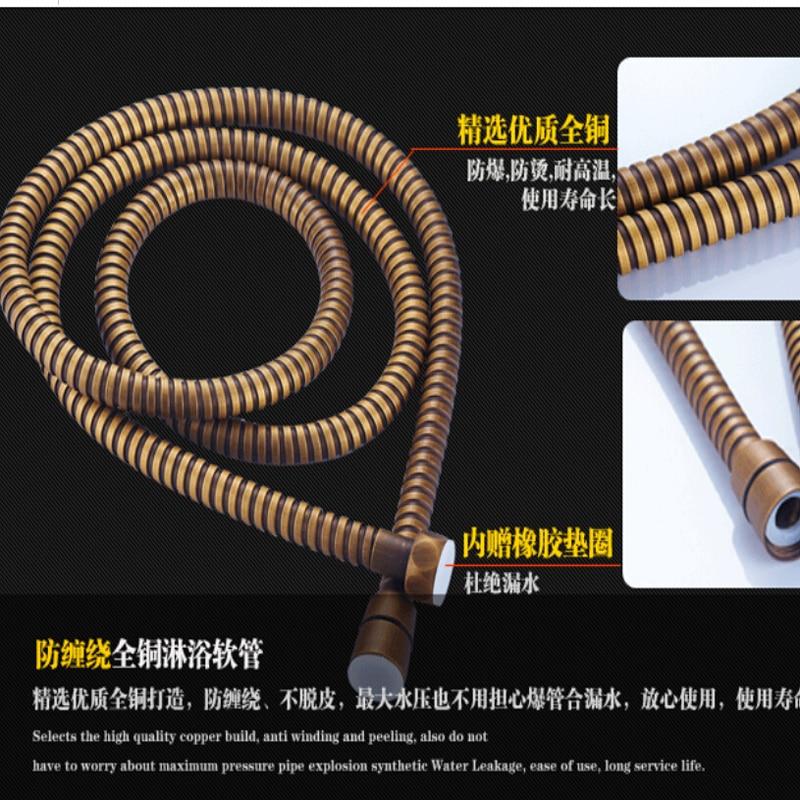 Wholesale And Retail Luxury Antique Brass Ceramic Handles Rain Shower Head Faucet Tub Spout Mixer Tap W/ Hand Sprayer