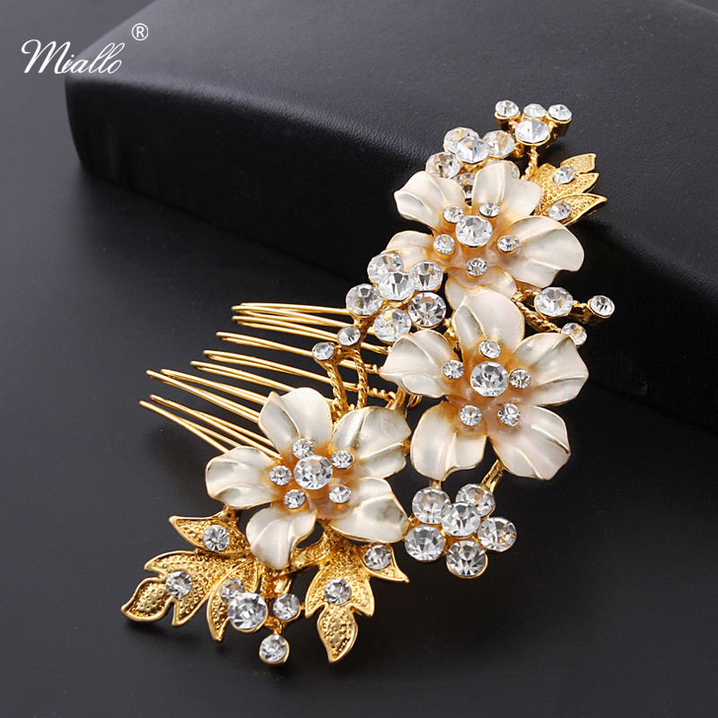 Miallo Wedding Bridal Hair Combs Vintage Crystal Hairpins Prom Jewelry Gold Silver Flower Pattern Hair Accessories