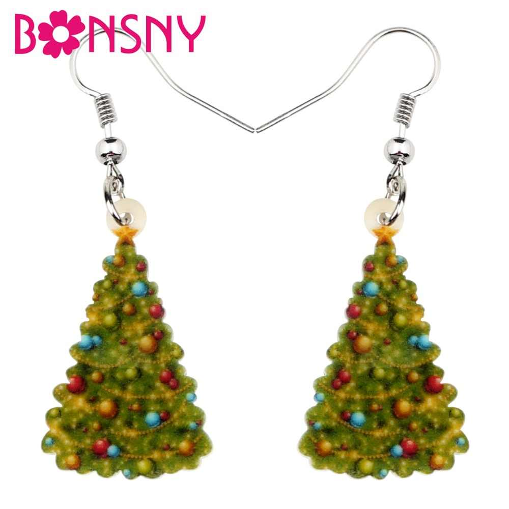 Bonsny Acrylic Christmas Decoration Tree Earrings Ornaments Drop Dangle New Year Party Gift Jewelry Women Girls Brincos Femme