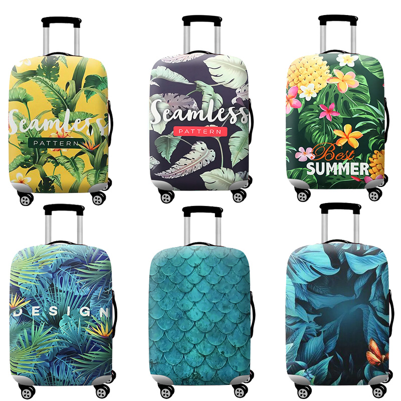 Travel Accessories Luggage Cover Suitcase Protection Baggage Dust Cover Elasticity Flowers Trunk Set Case For Travel Suitcase