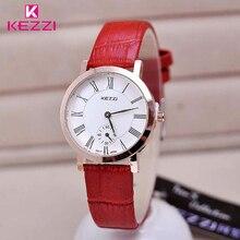 Kezzi marque nouvelle personnalité secondes cadran femmes robe montres montre en cuir bande analogique quartz robes de femmes montre-bracelet cadeau