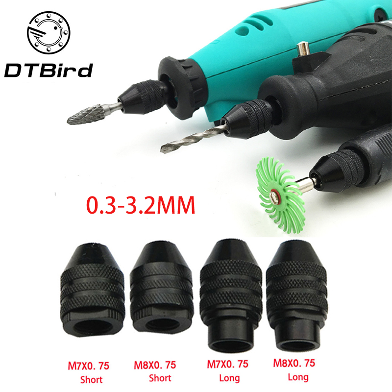 4 Types Multi Chuck Keyless For Dremel Rotary Tools 0.3-3.2mm Drill Bit Chucks Adapter Converter Universal Mini Chuck  DT6
