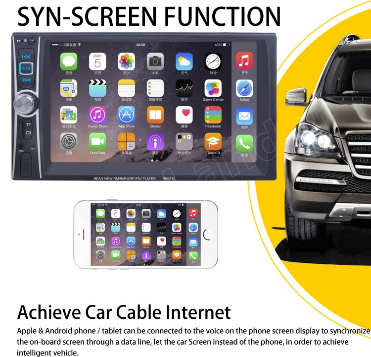 support rear camera DVR input 2 Din 6.6 inch Car radio MP5 MP4 video Player FM for android screen mirroring stereo bluetooth