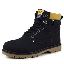 CVICV Men's Pu Leather Casual Boot Black Khaki Brown Lining materials with no fur Shoes XM-03