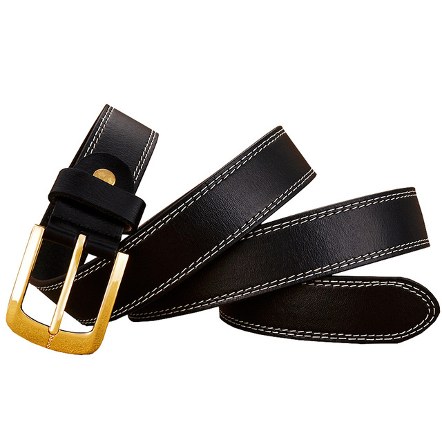 2017 Fashion stitching belt female Genuine leather belts for women Gold Pin buckle top quality second layer cowskin woman strap