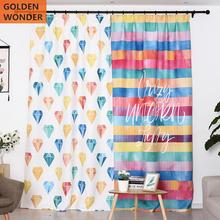 Finished Curtain Colorful Diamond Strip Princess Curtains for Living room Bedroom Girls Custom Made Fashion Home Decor