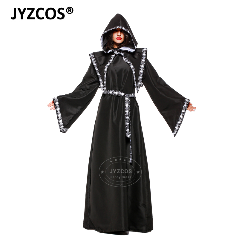 JYZCOS Adult Death Scythe Cosplay Costume Wizard Costumes Halloween costumes for Men Women Horror Skeleton Zombie Costume Outfit