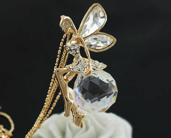 כדור אוסטרי קריסטל מלאך פיות אגף תליון זיעה שרשרת שרשרת תכשיטים באיכות מסיבת משלוח drop חינם משרד ילדה