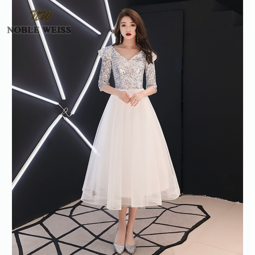 prom     dresses   ivory tulle vestidos de festa tea-length   prom     dress   sexy sequin party   dresses   with half sleeves party gown