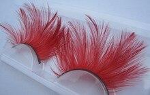1 pairs YM055 gran Pluma Arte exagerado pestañas postizas de color rojo Chino para las mujeres maquillaje ballet América pasarela