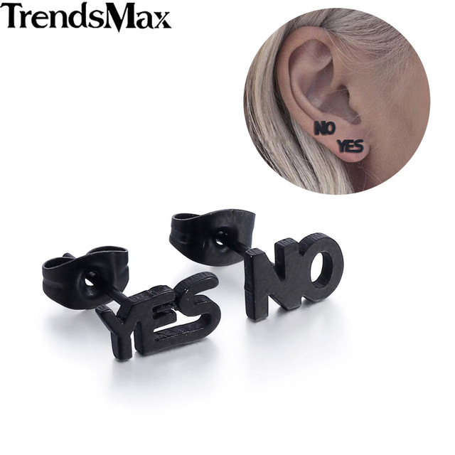 (4 pieces/set) Stainless Steel Triangle Earrings Black