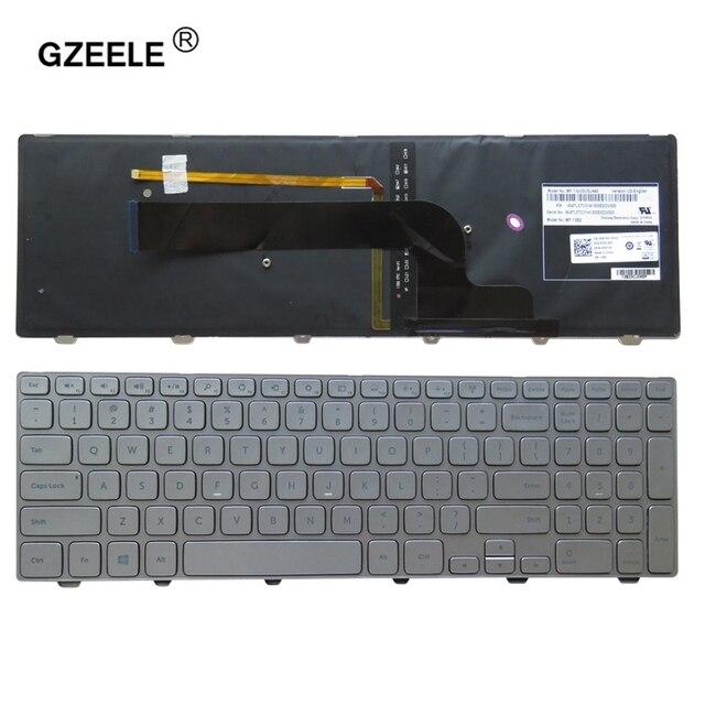 """חדש אנגלית עבור Dell Inspiron 15 7537 7000 P36F מחשב נייד מקלדת עם תאורה אחורית כסף 15 7000 סדרת ארה""""ב מקלדת"""