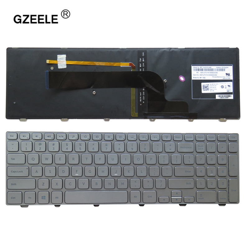 GZEELE New English for Dell Inspiron 15 7537 7000 laptop Keyboard with backlight silver 15-7000 Series US Keyboard backlit us new laptop keyboard for dell inspiron 15 7537 7000 p36f 7537 sliver