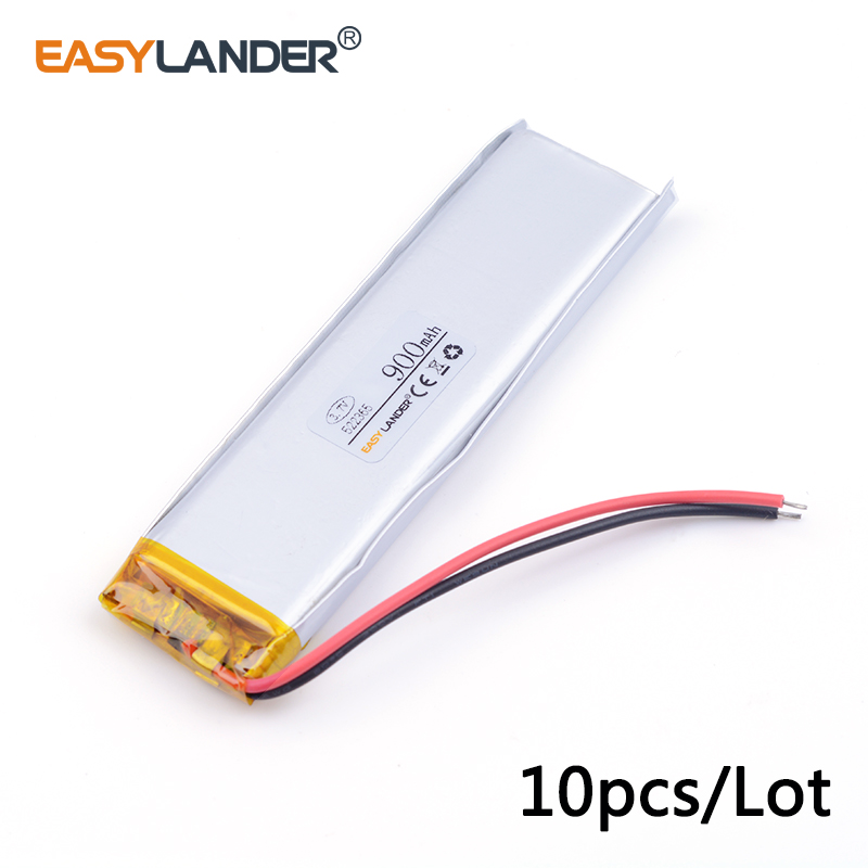 10pcs/Lot 900mah 522365 3.7v lithium Li ion polymer rechargeable battery mobile power supply tablet GPS navigator medical device