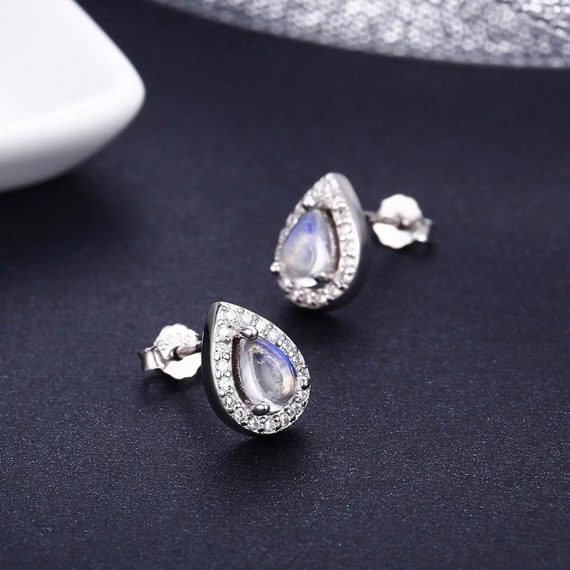 Cute 925 Sterling Silver Tear drop Pear Natual Moonstones & CZ Stud Earrings For Women Girls Kid Jewelry Orecchini Aros Aretes