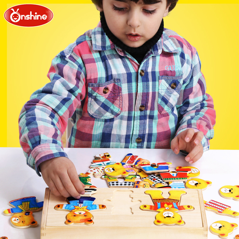 Jigsaw Board Change Clothes Game Puzzle Early Teaching Dressing Wood Puzzle Toys children s early childhood educational toys the bear change clothes play toys creative wooden jigsaw puzzle girls toys