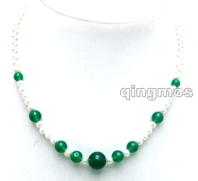 SALE 5-6mm White round Natural pearl and 6-12mm green Stone17 Necklace-nec5918 wholesale/retail Free ship