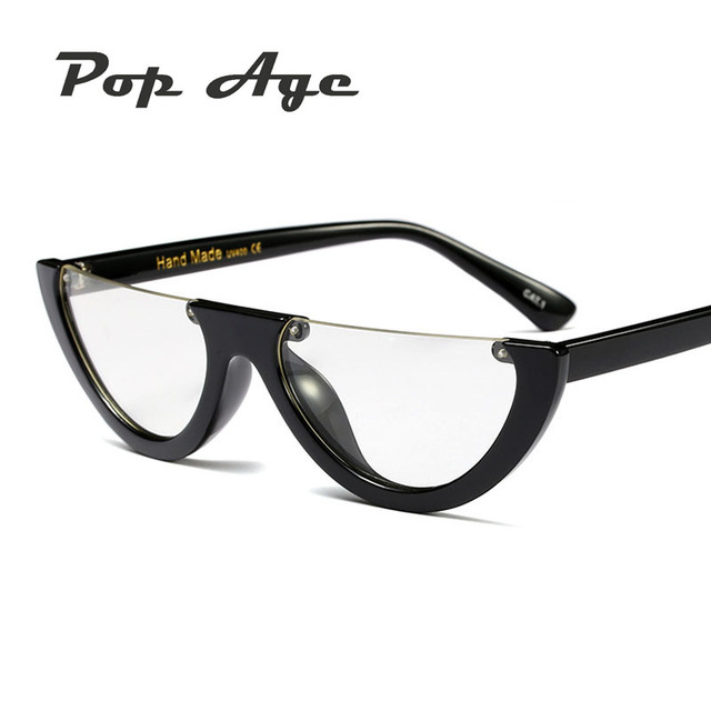 0c885f30312 Pop Age New Fashion Half Frames glasses Women Men Vintage Personality Semi- Rimless Clear lens