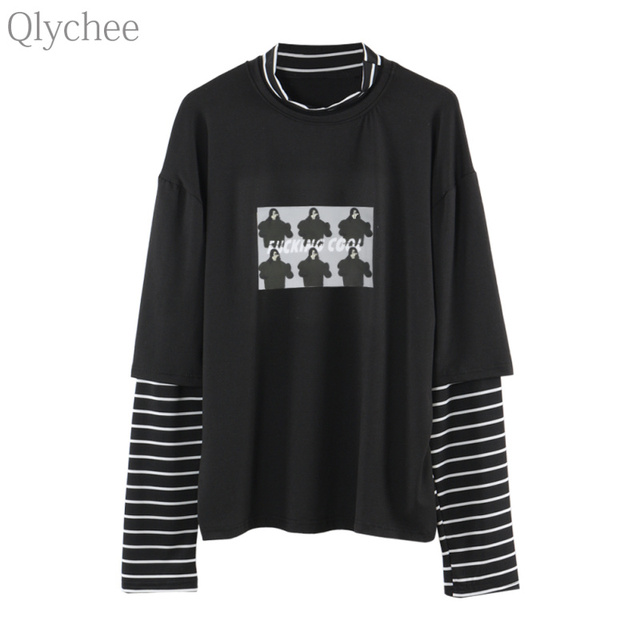 Qlychee Spring Harajuku Women Fake 2 Piece Tee Top Character Print Stripe T  shirt Patchwork Sleeve Casual Loose T shirt 416940cc9f