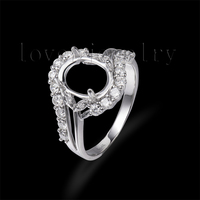 0.85Ct Natural Brilliant Diamond Setting Ring,Oval 8x10mm Semi Mount Ring 14Kt White Gold For Sale G090647