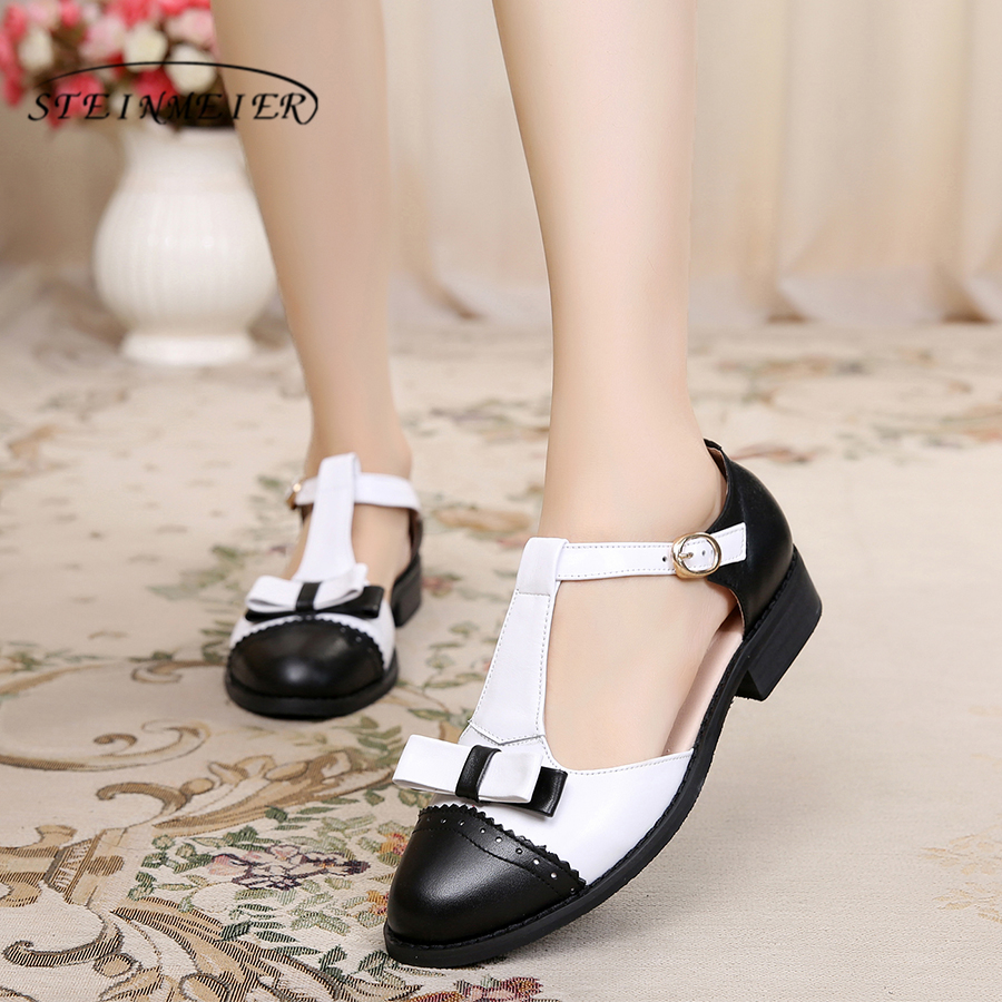 Genuine Leather oxford Sandals bow handmade vintage round Toe British style oxford women shoes sandals 2018 spring summer US 11 women genuine leather oxford sandals shoes 5cm thick designer vintage high heels sandals round toe handmade white grey pumps