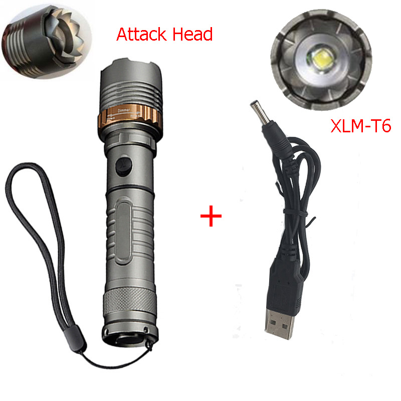 Zk30 LED T6 Self Defense Rechargeable LED Flashlight Torch 6000LM Lamp Lantern Tactical Outdoor Torch With USB Charger