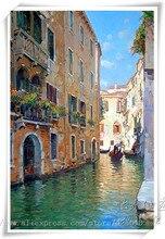 Venice oil painting italian landscape on canvas hight Quality CANAL Gondola 1