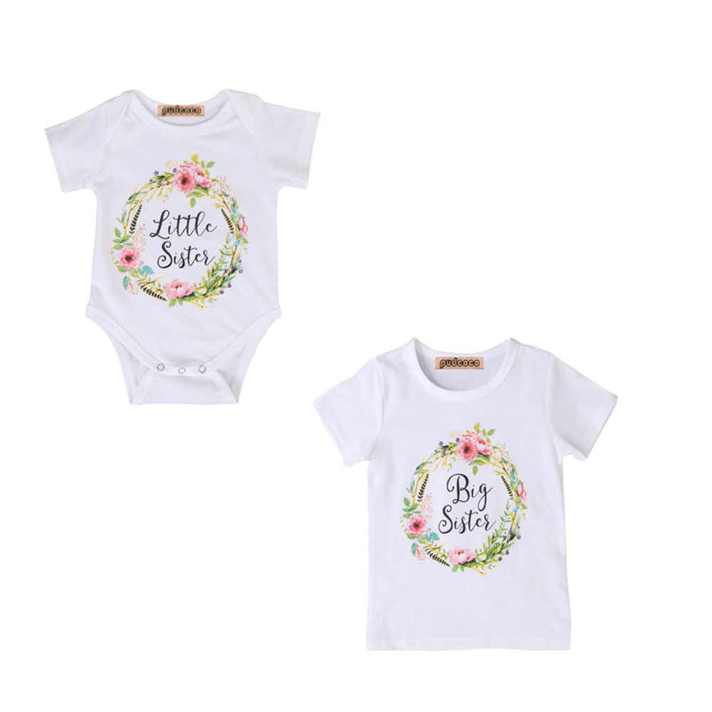 sisters cotton baby clothes kids girl china Little Big Sister match clothes jumpsuit romper outfits t shirt for newborn girls
