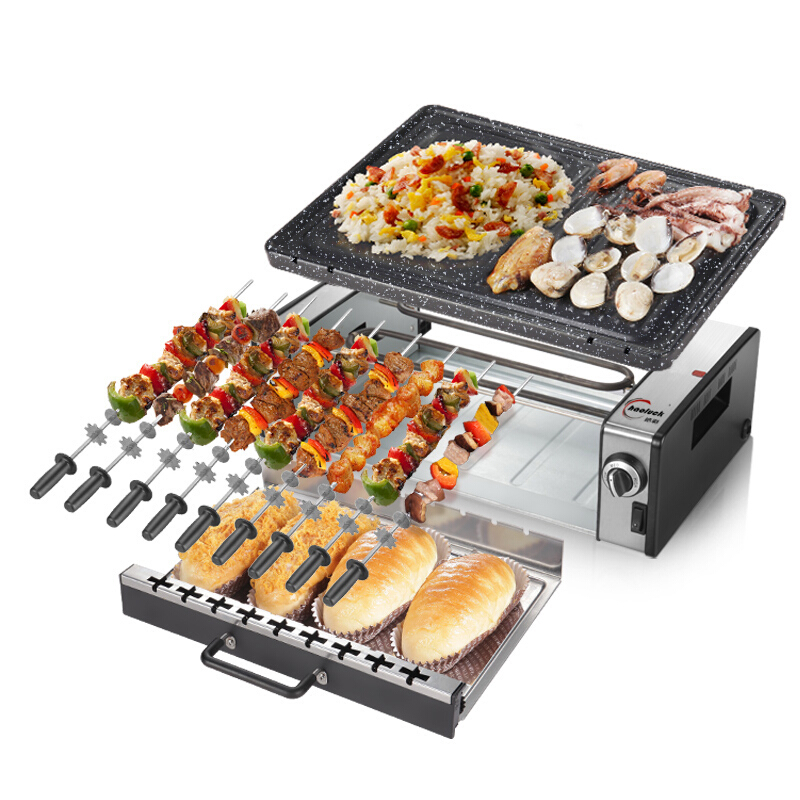 Double Layers Household Electric Barbecue Large Baking Pan BBQ Oven Smoky Stick Automatic Multicooker Rotation Roasting Machine