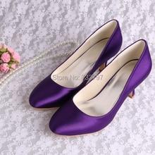 Wedopus Выполненное на заказ Фиолетовый Атласная Закрытое Toe Офис Леди Платье Каблуки Свадебные Свадебная Обувь
