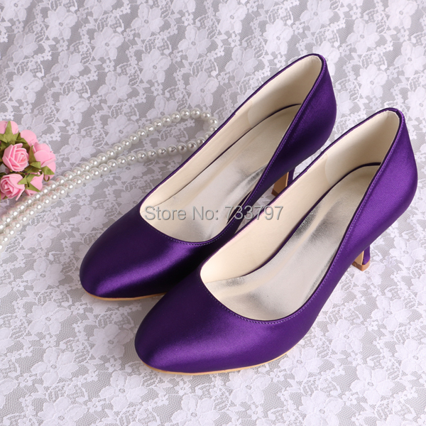 Wedopus Custom Made Purple Satin Closed Toe Office Lady Dress ...