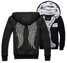 TV Series The Walking Dead Hoodie Daryl Dixon Wings Scary Zombies Warm Winter Fleece Zip Up Clothing Coat Sweatshirts Clothes