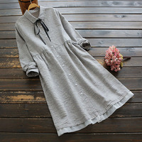 5103 autumn women dress Japan style mori girl Literary polka dot drawstring turndown collar Cotton linen long sleeve midi dress