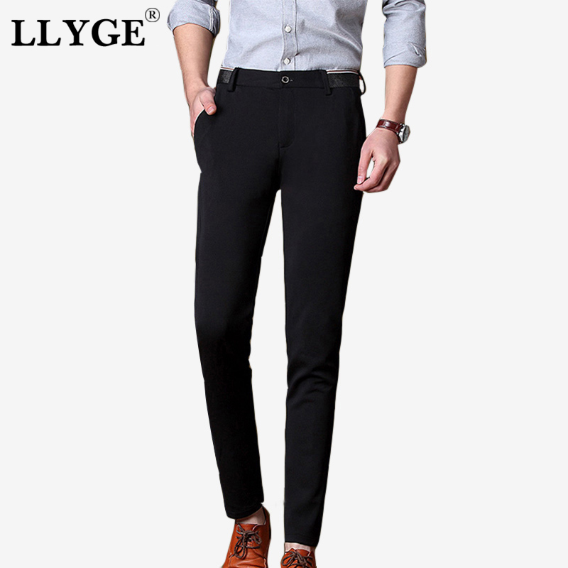 Trousers Men Classic Business Elastic-Sashes Long-Pants Bottoms Streetwear Black Men's