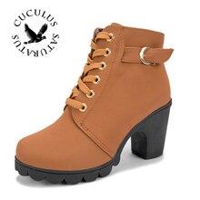 Cuculus Mới Mùa Thu Mùa Đông Nữ Boots Cao Chất Lượng Rắn Ren-up Châu Âu Nữ giày dép PU Thời Trang cao gót Giày 656