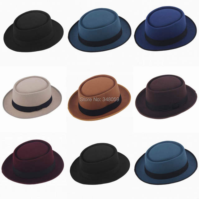 placeholder 9 Color Fashion Unisex Classic Felt Pork Pie Porkpie Hat Cap  Upturn Feodora hats Short Brim 1c2a1698bc58