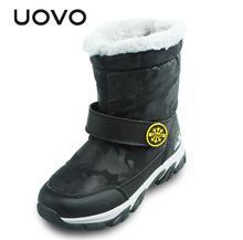 Uovo 2017 зимняя детская Обувь теплые удобные Обувь для девочек и Зимние сапоги для мальчиков модные уличные Новогодние товары для ребенка Размер 28-37