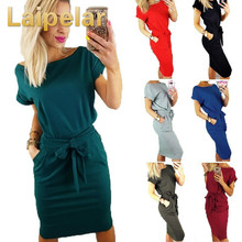 Laipelar Women Summer Dress Casual Pocket Bow Belt Knee-length Dresses Vestidos